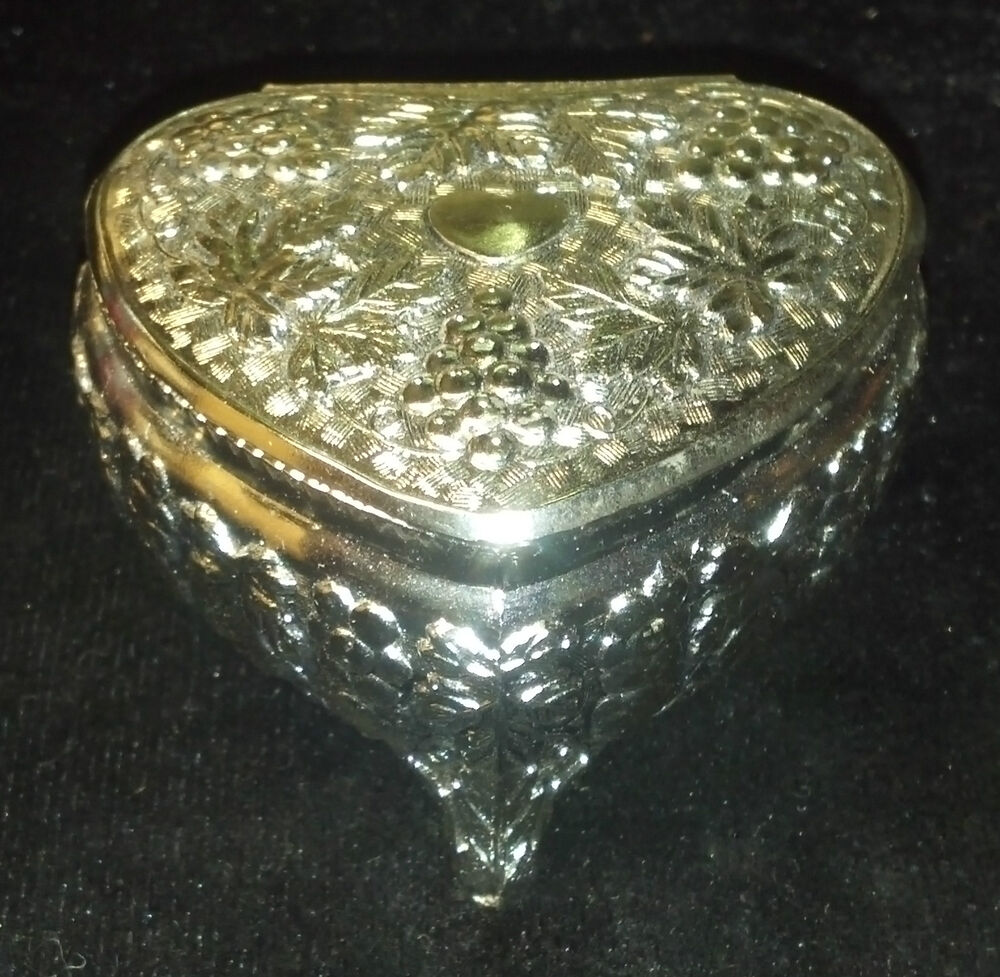 Vintage Marked JAPAN Silvertone Heart Shape Trinket Box or ...