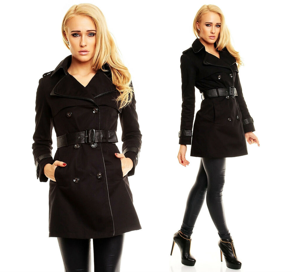 damen mantel schwarz kurzer trenchcoat parka jacke wintermantel leder s m l xl ebay. Black Bedroom Furniture Sets. Home Design Ideas