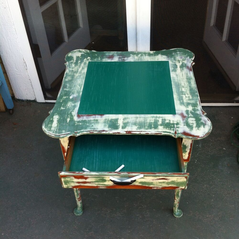 Gold Shabby Chic Coffee Table: Shabby Chic Chalkboard Table, Retro, Vintage Green Side