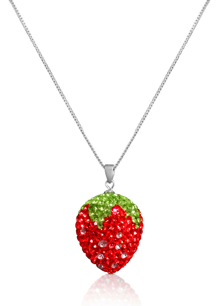 Strawberry Charm Necklace Crystal Pendant 925 Sterling