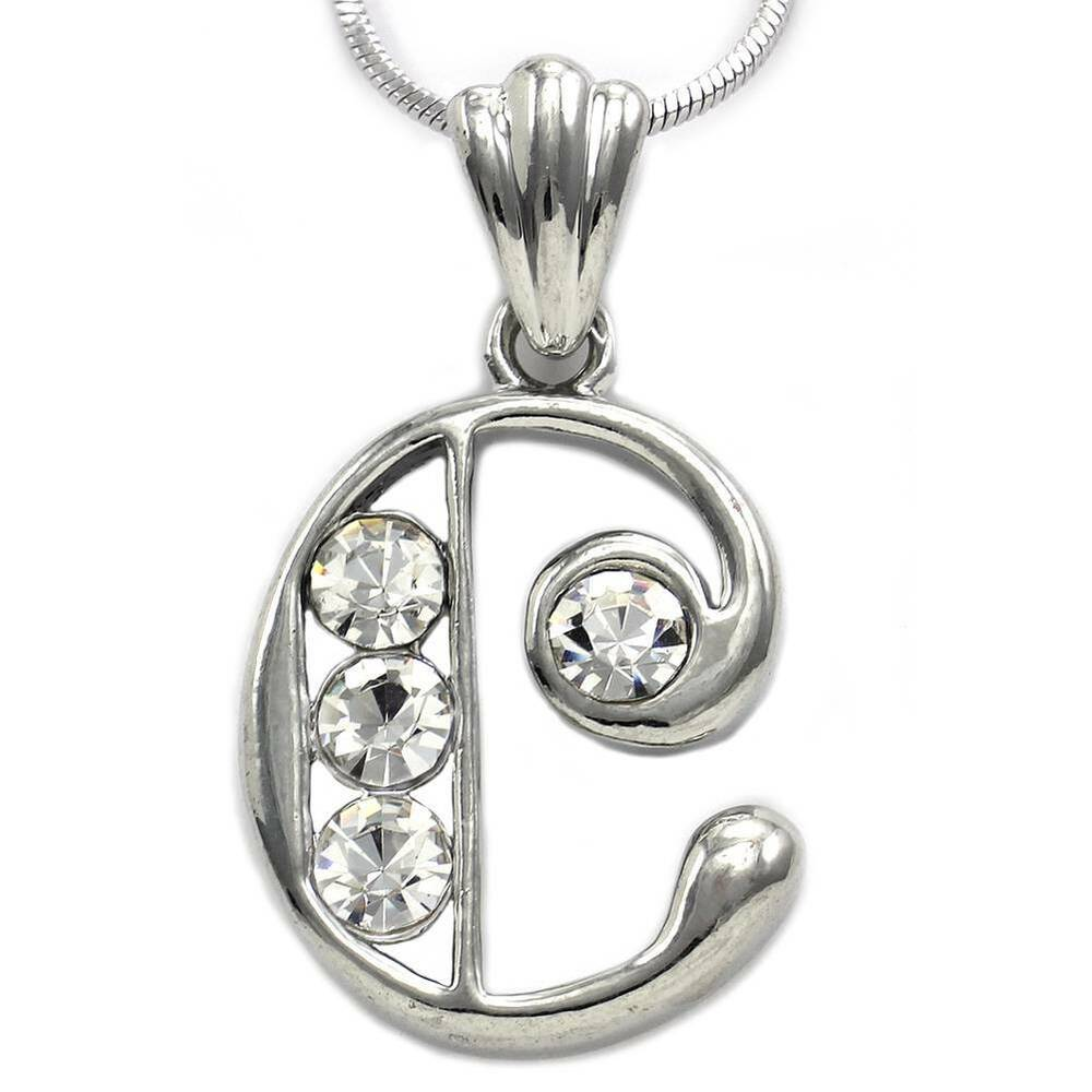 alphabet initial letter c pendant necklace charm silver With letter c charm necklace