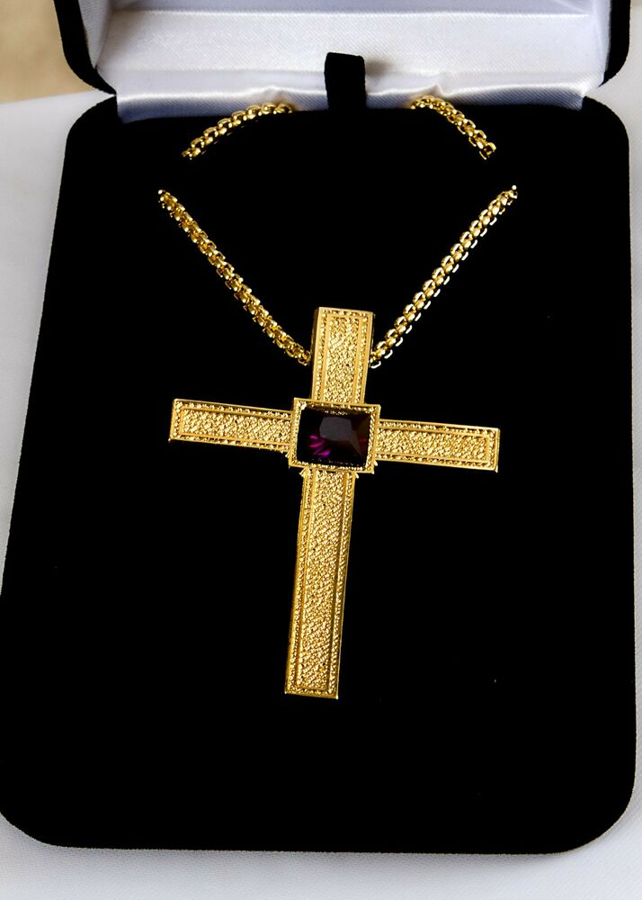 New Gold Plated Pectoral Cross W Purple Crystal Stone 36