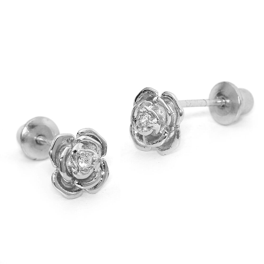 925 Sterling Silver Rose Children Screwback Baby Girls ...