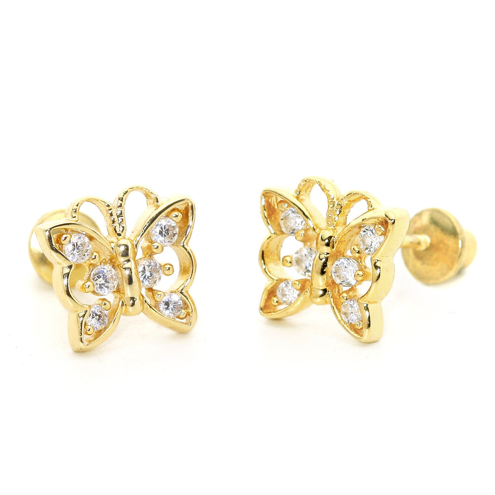 14k gold plated butterfly children screwback baby