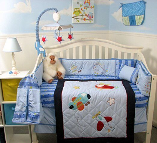 aviator adventure baby crib nursery bedding 13 pcs set included diaper bag ebay. Black Bedroom Furniture Sets. Home Design Ideas