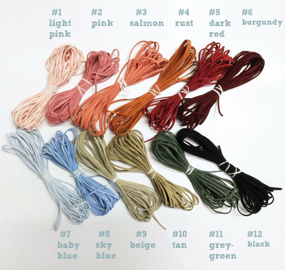 Faux Suede Flat Leather String Cord Lace 3mm 1 8 Quot Inch