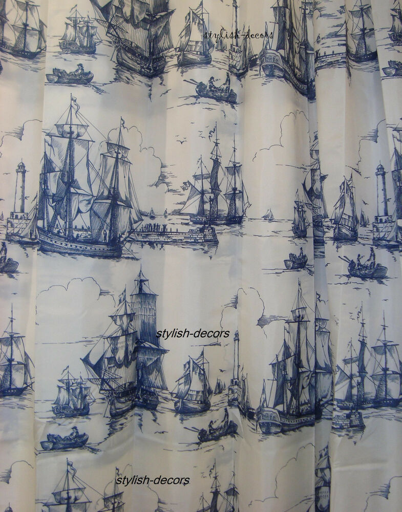Ikea aggersund shower curtains nautical tall ships boat for Navy blue curtains ikea