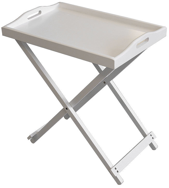 White Wooden Folding Tray Table Breakfast Laptop Side