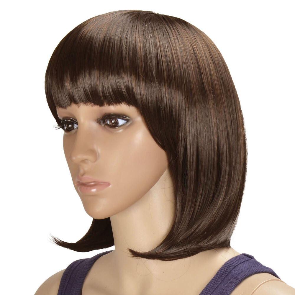 BOB style Straight Bang short Straight Women Wigs with Wig ...