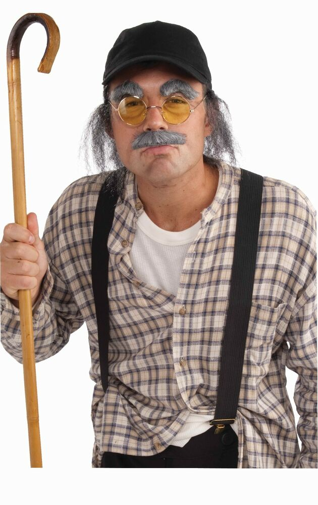 Old Man Costume Kit Hat with Fake Hair Moustache Eyebrows Glasses Mustache NEW | eBay