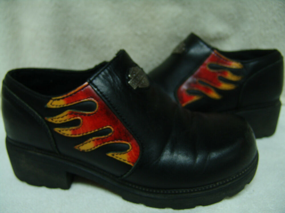 Harley Davidson Flame Zipper Low Cut Boot Shoe 1 1 4