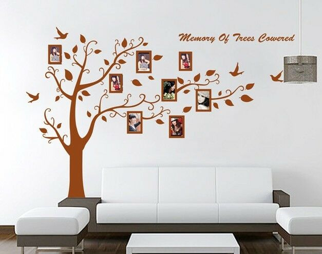 xxl wandtattoo braun baum vogel fotorahmen wandaufkleber 250 x 180 b x h ebay. Black Bedroom Furniture Sets. Home Design Ideas