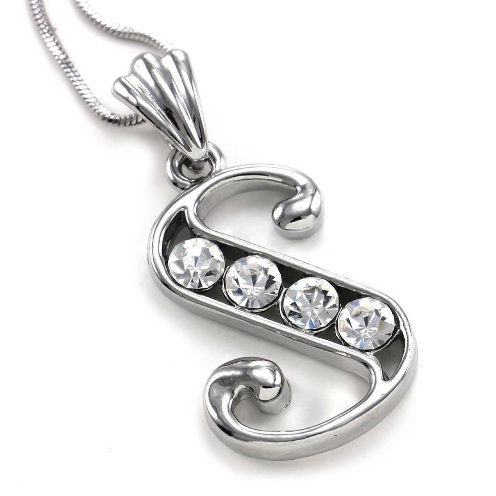 Alphabet Jewelry: Alphabet Initial Letter S Pendant Necklace Charm Silver Tone Teen Ladies Jewelry