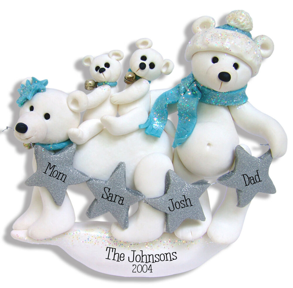 Polymer Clay Christmas Ornament: POLAR BEAR FAMILY FAMILY 4 Handmade Polymer Clay