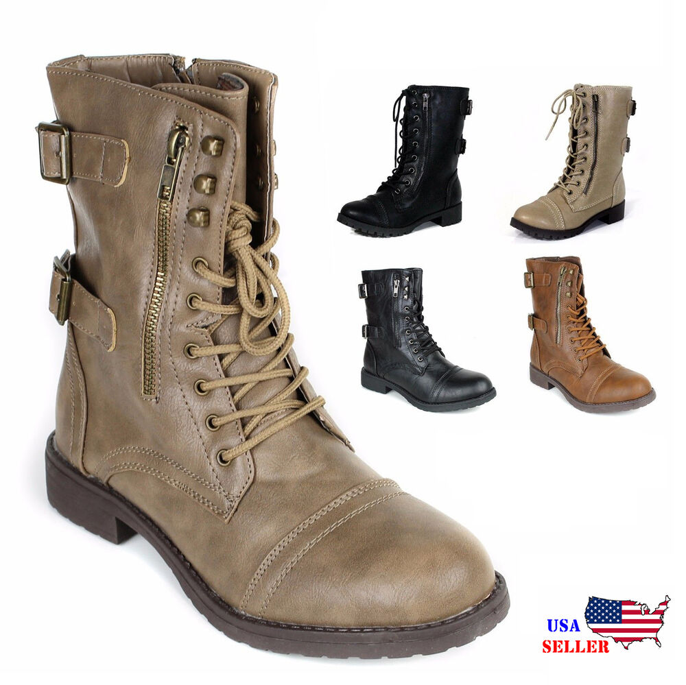 New Womens Lace Up Boot Ankle High Combat Fashion Military Boots Faux Leather Size 6 | EBay