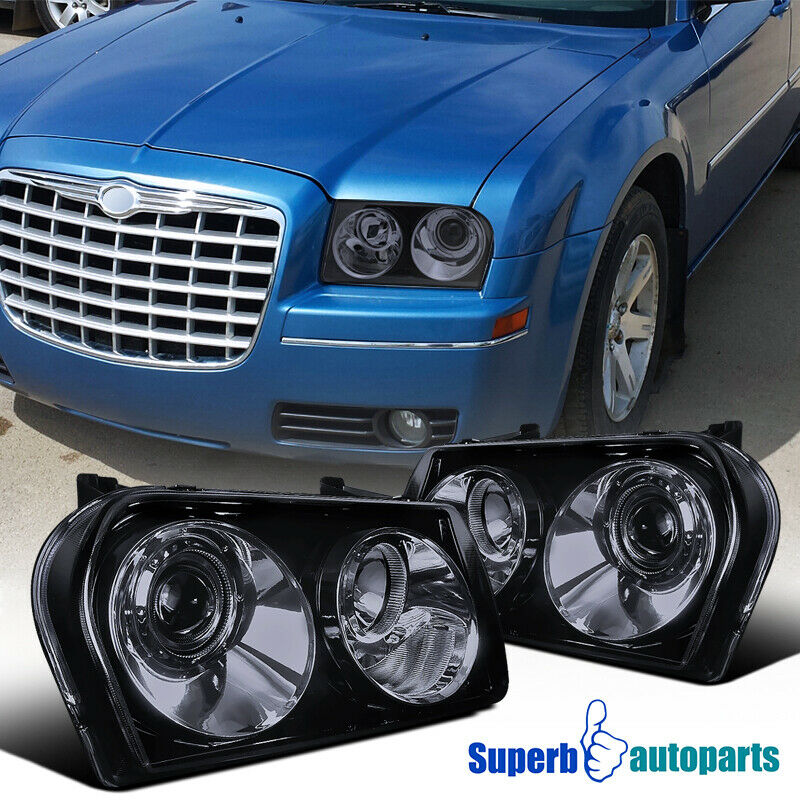 Black 2005 2006 2007 2008 2009 2010 Chrysler 300c: 2005-2010 Chrysler 300 Smoked Projector Headlights Glossy