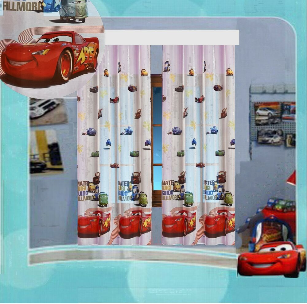 kinderzimmer gardine auto cars ii disney 2 teile 2x 160x126 160x252 top vorhang ebay. Black Bedroom Furniture Sets. Home Design Ideas