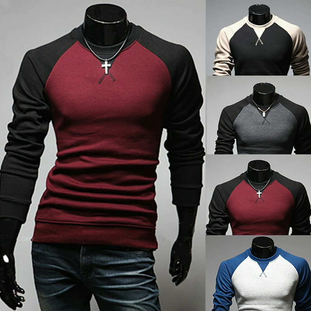 Mens slim fit long sleeve tee pullover hoodies t shirt for Pull over shirts for mens