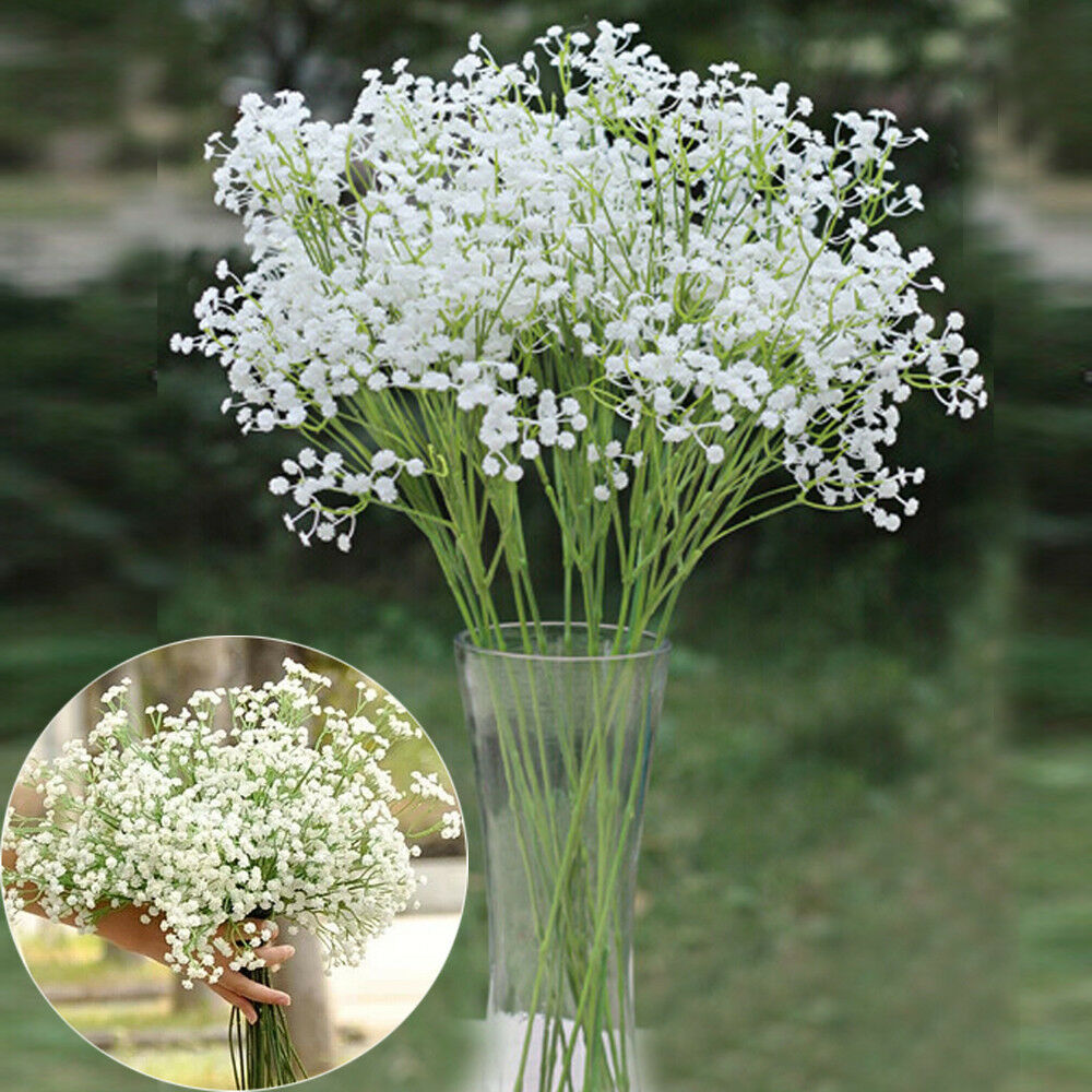 6x artificial silk flowers gypsophila baby 39 s breath floral for Artificial flower for wedding decoration