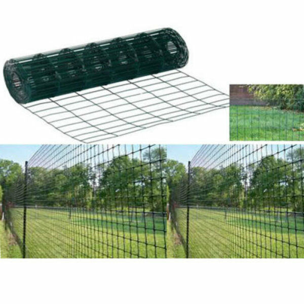 HEAVY DUTY 10M X 0 9M GARDEN GREEN PVC COATED BORDER STEEL WIRE MESH FENCE PA