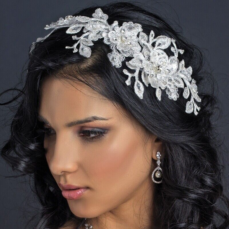 Ivory Lace Rhinestone Crystal Flexible Bridal Applique