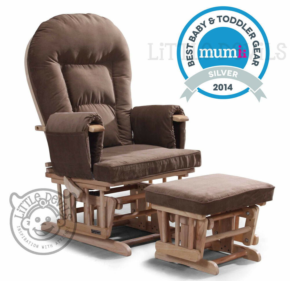 BROWN SUPREMO BAMBINO Nursing Glider Rocking Recliner Maternity Chair With St