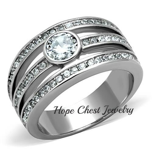WOMENS SILVER STAINLESS STEEL ROUND CUT BEZEL SET CZ ENGAGEMENT RING SIZE 5 10