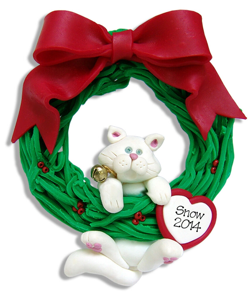 Polymer Clay Christmas Ornament: WHITE CAT Hanging WREATH Handmade Polymer Clay