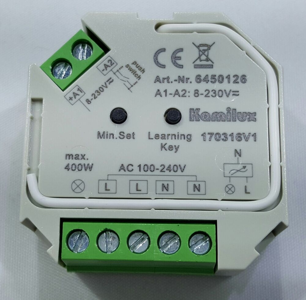 tast led dimmer elmo 230v led max 400 watt f r dimmbare led leuchtmittel ebay. Black Bedroom Furniture Sets. Home Design Ideas