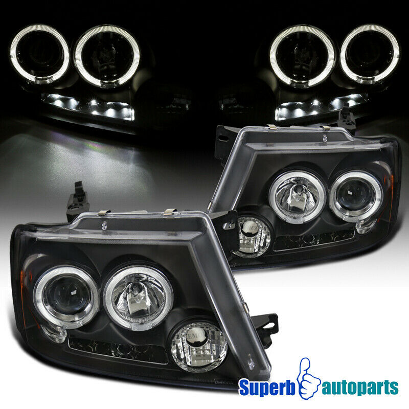 Ford F150 98 Tuning >> 2004-2008 Ford F150 Dual Halo Led Projector Headlights Black SpecD Tuning | eBay
