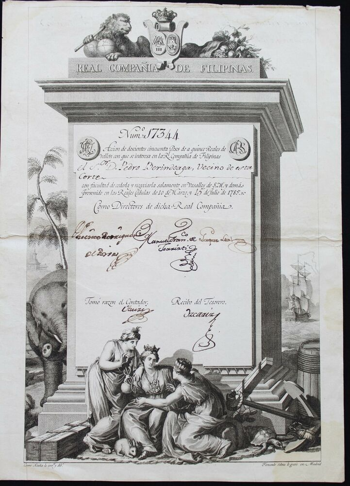 1785 spanish share philippines royal company real compaia de 1785 spanish share philippines royal company real compaia de filipinas ebay fandeluxe Images