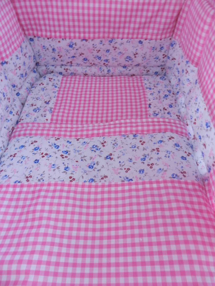 New Vintage Pink Or Blue Gingham And Ditsy Crib Cot Or Cot