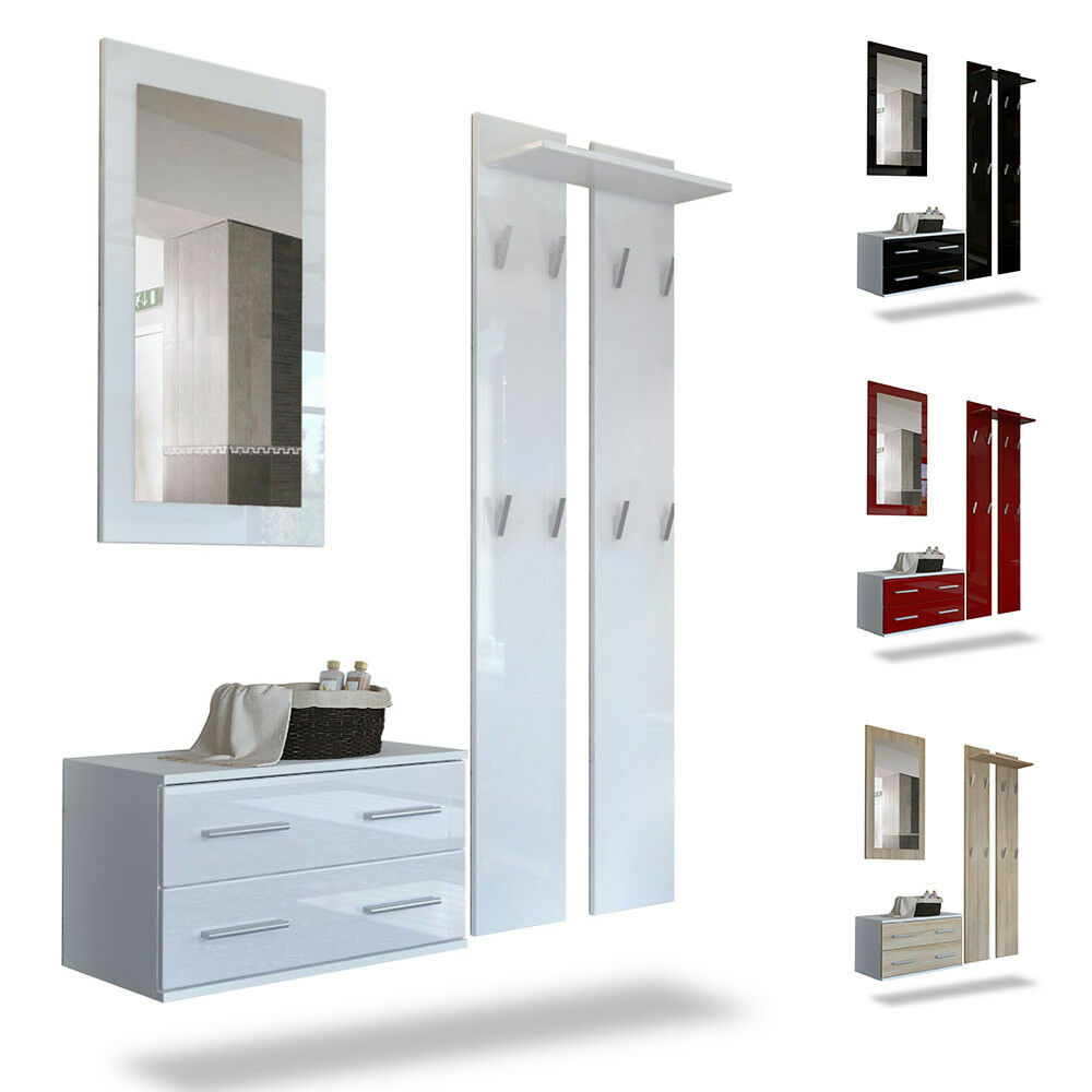 Wardrobe set hallway furniture kioto white high gloss for Flurgarderobe set