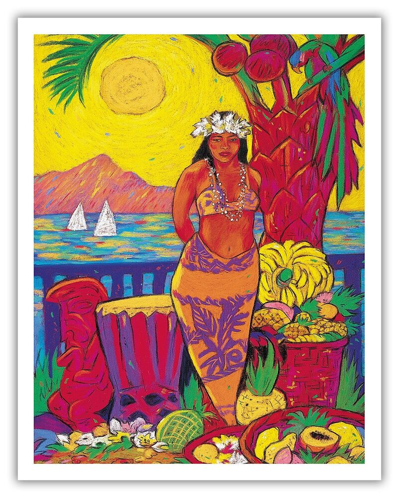 Seaside Market Hawaiian Woman Tropical Fruit Vintage Art ...