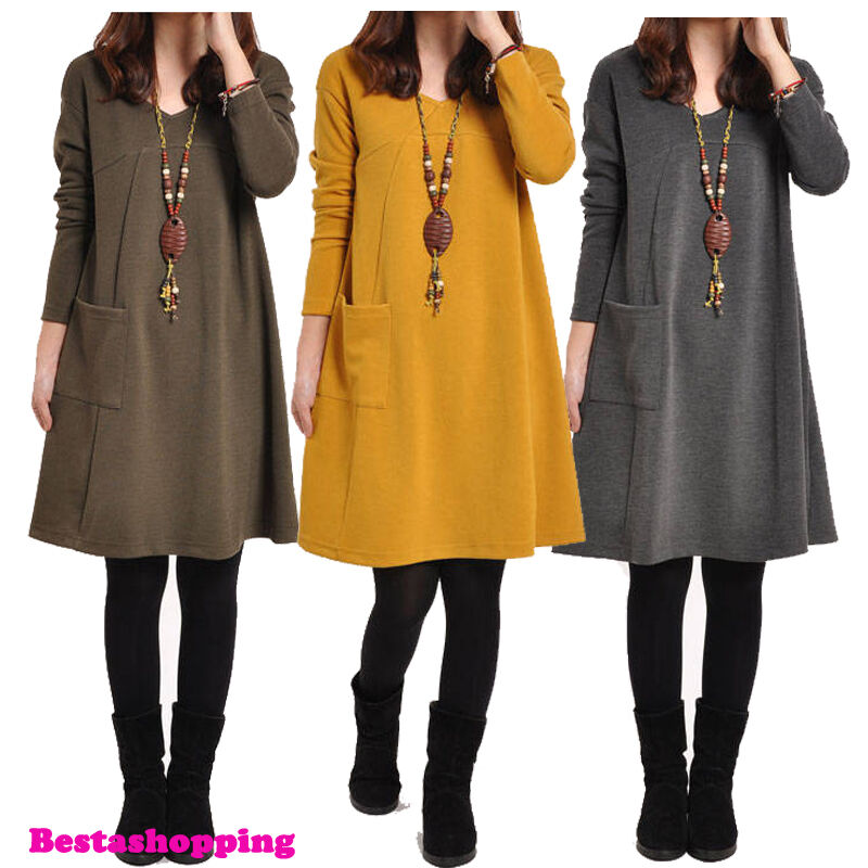 Korean fashion women v neck long sleeve loose casual a Women s long sleeve shirt dress