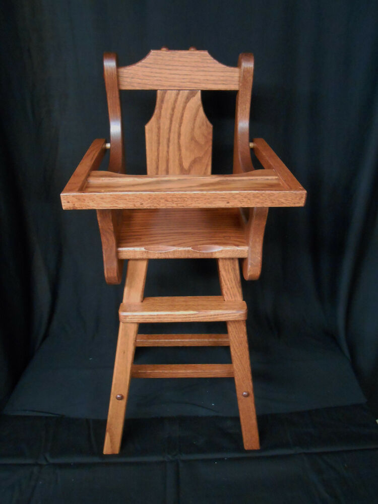 Doll High Chair Solid Oak Amish Handmade Handcrafted Kids