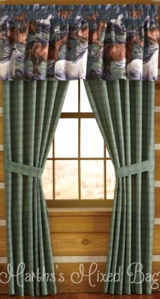 Western Horse Pony Equine Plaid 4 Piece Window Treatment