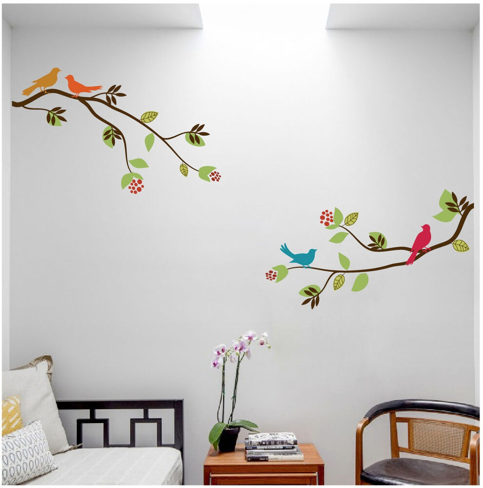 2 large tree branches with birds wall decal deco art sticker mural ebay. Black Bedroom Furniture Sets. Home Design Ideas