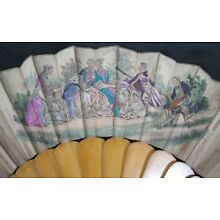 Vintage Victorian 19th Century Wood & Silk Hand Painted Scene Hand Fan