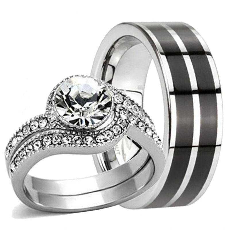 stainless steel wedding ring sets 3 pc his hers tungsten band amp stainless steel engagement 7661