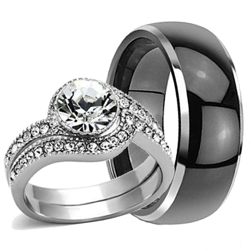 His hers mens tungsten black band stainless steel for Tungsten carbide wedding ring sets