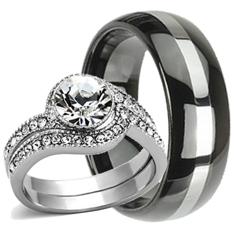 His And Her Wedding Rings: 3 Pcs His And Hers TUNGSTEN & STAINLESS STEEL Engagement