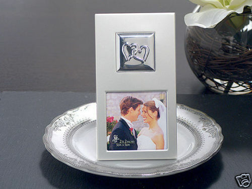 Wedding Gift Frame: 75 Silver 2x2 Photo Frame Linked Two Hearts Anniversary