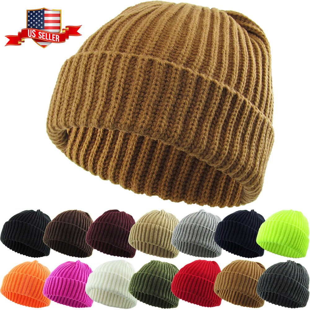 Details about THICK Ribbed Beanie Knit Ski Cap Skull Hat Warm Solid Color  Winter Cuff Blank 46c04ef972d