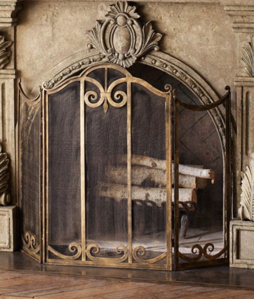 Neiman Marcus Iron Scroll Classic Fireplace Screen Antiqued Gold Luxe Ebay
