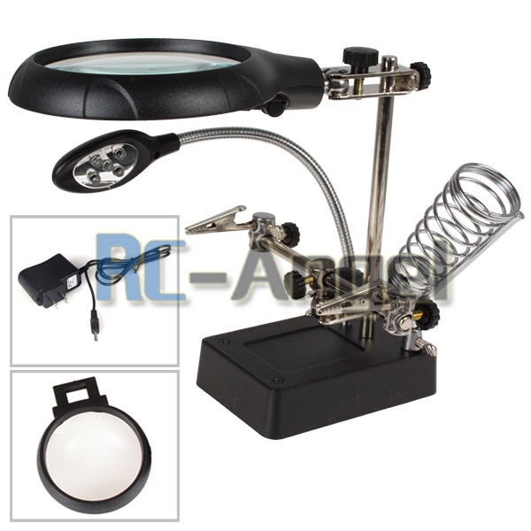stand with led light magnifier magnifying glass 3 lens us ebay. Black Bedroom Furniture Sets. Home Design Ideas