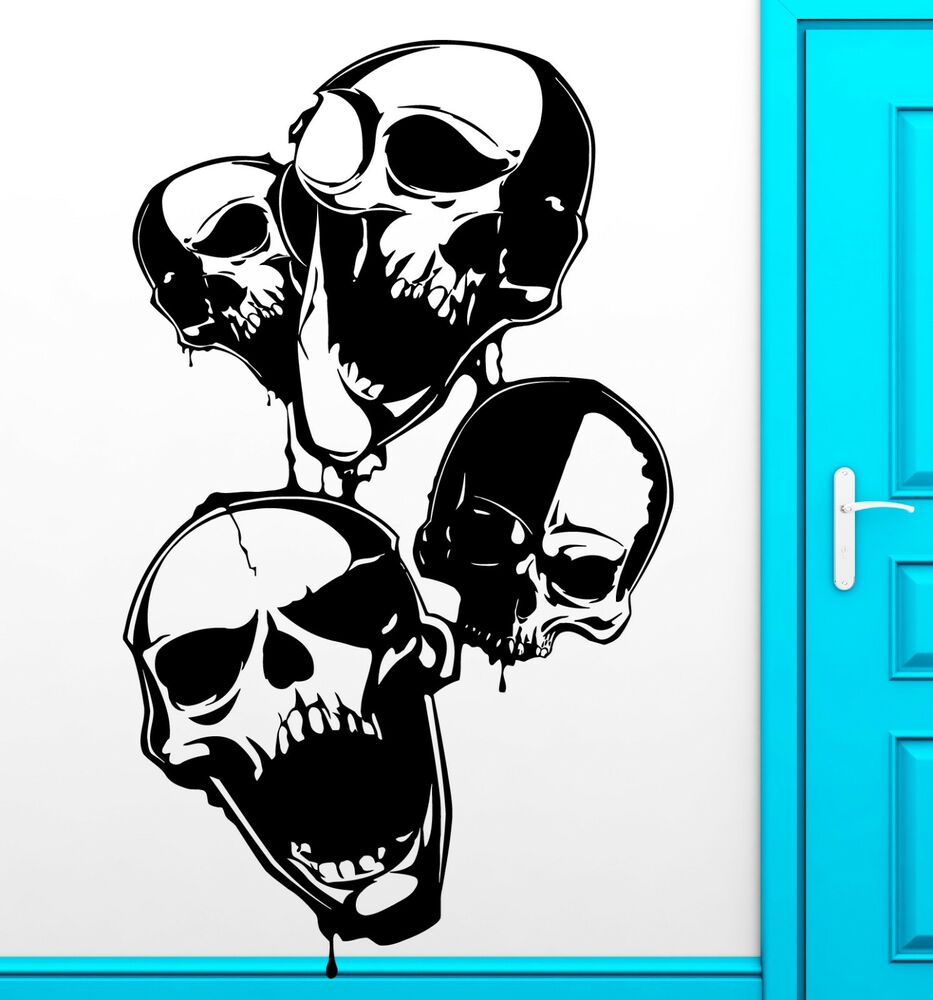 Wall Sticker Vinyl Decal Skull Scary Anarchy Freedom Cool