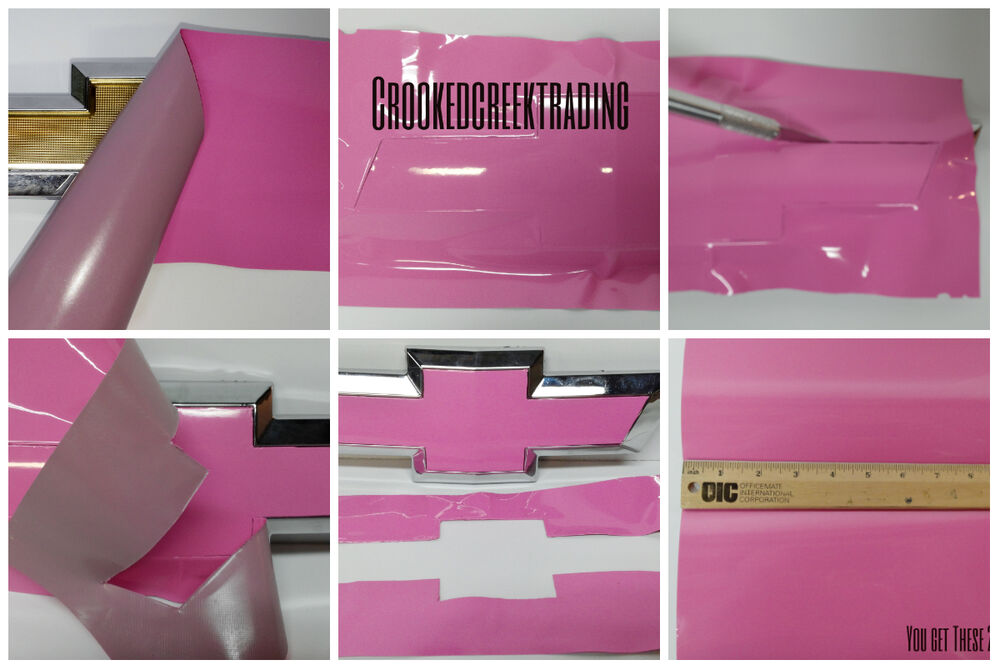Pink Vinyl Sheets 4 U Cut Decal Overlay For Chevy Bowtie
