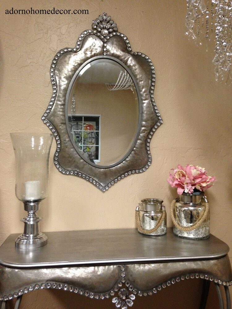 Metal Wall Silver Oval Crystal Jewel Mirror Rustic Modern