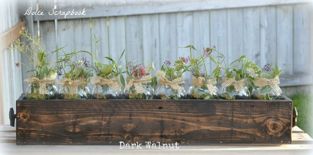Handmade reclaimed wood pallet rustic centerpiece planter